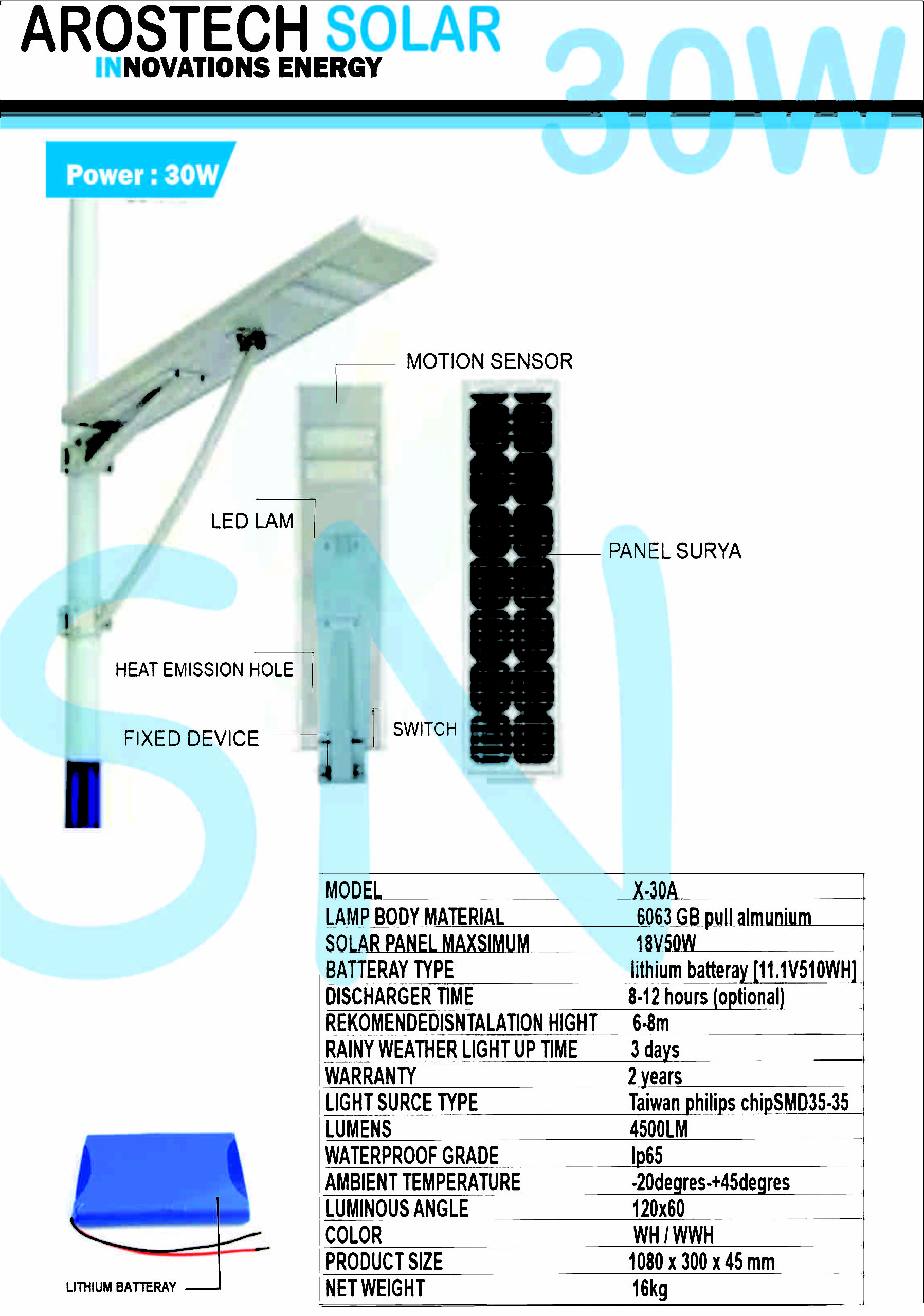 LAMPU PJU SOLARCELL ALL-IN-ONE 30WATT | LAMPU ALL IN ONE 30WATT