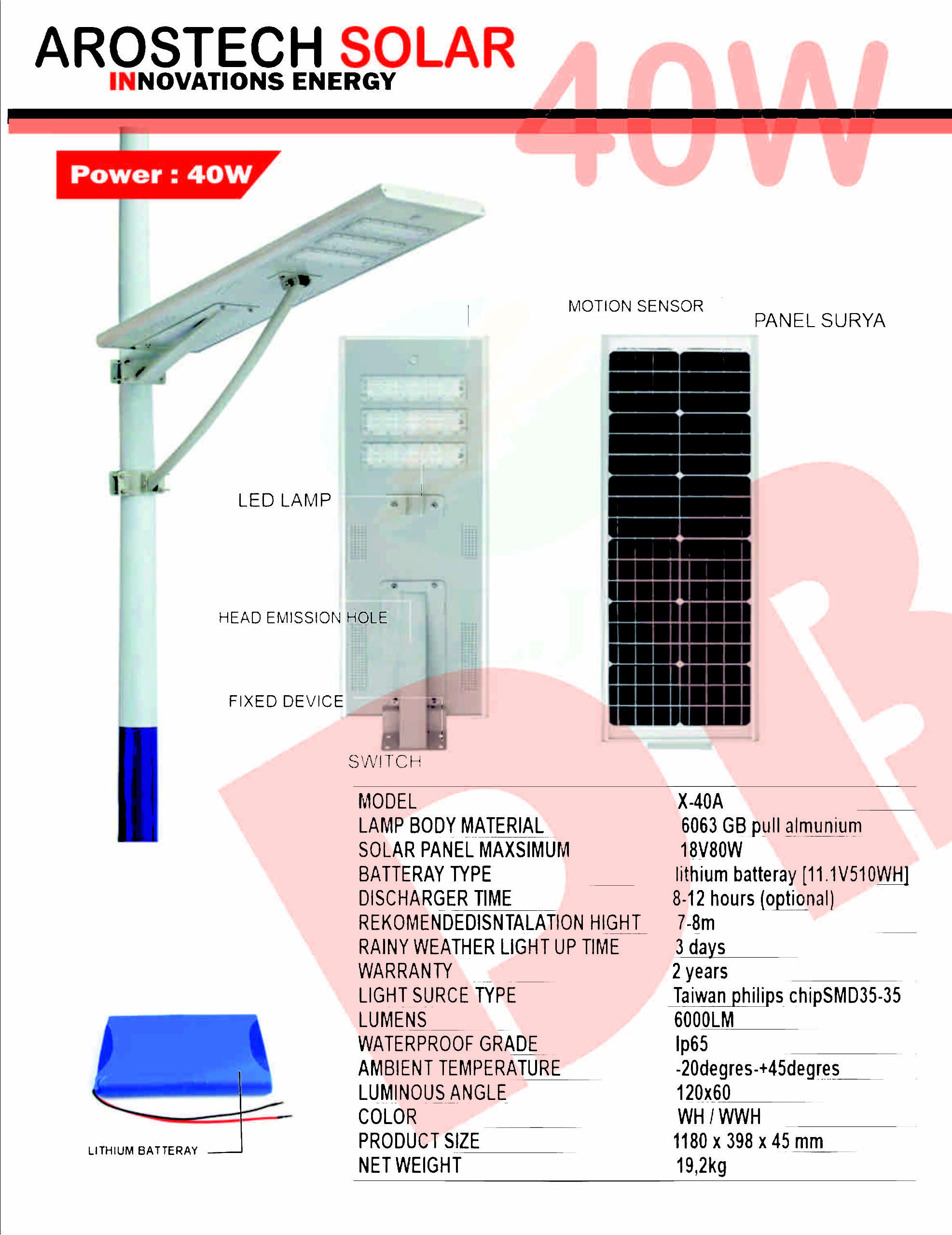 PJU SOLARCELL ALL-IN-ONE 40WATT | LAMPU ALL-IN-ONE 40WATT INTERGRATED