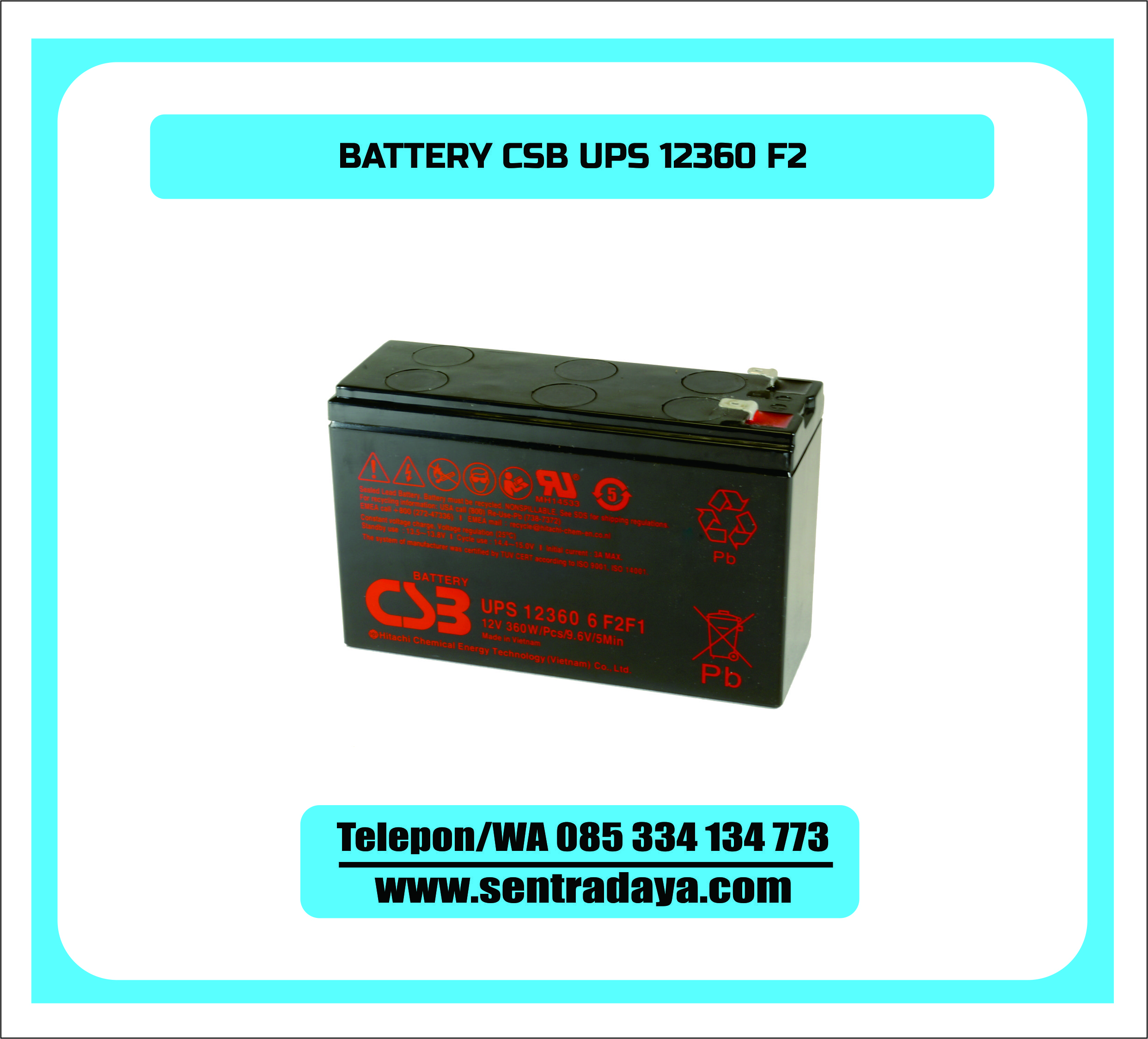 BATTERY CSB UPS12360 6 F2 | BATTERY VRLA AGM MERK CSB 12V 6 AH SLIM