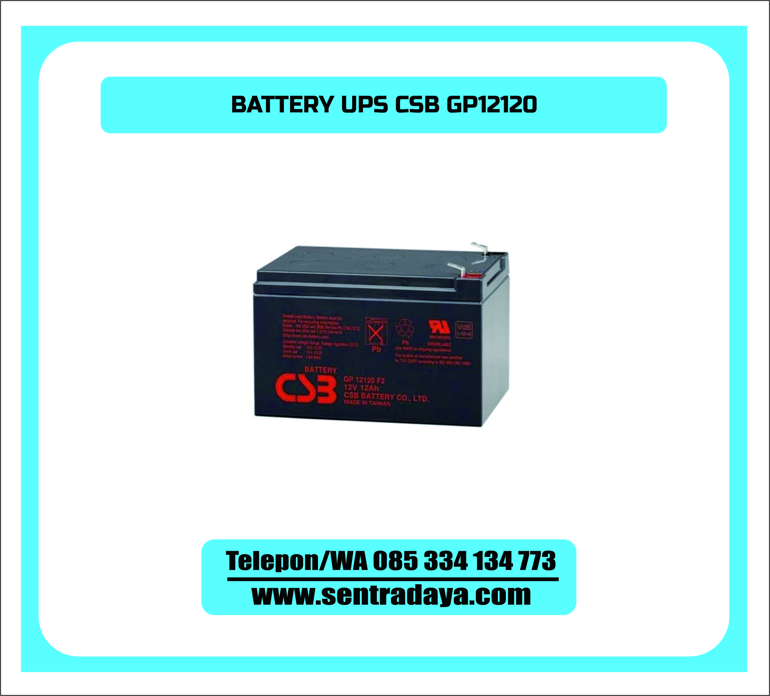 BATTERY UPS CSB GP12120 | BATTERY VRLA AGM CSB 12V 12 AH