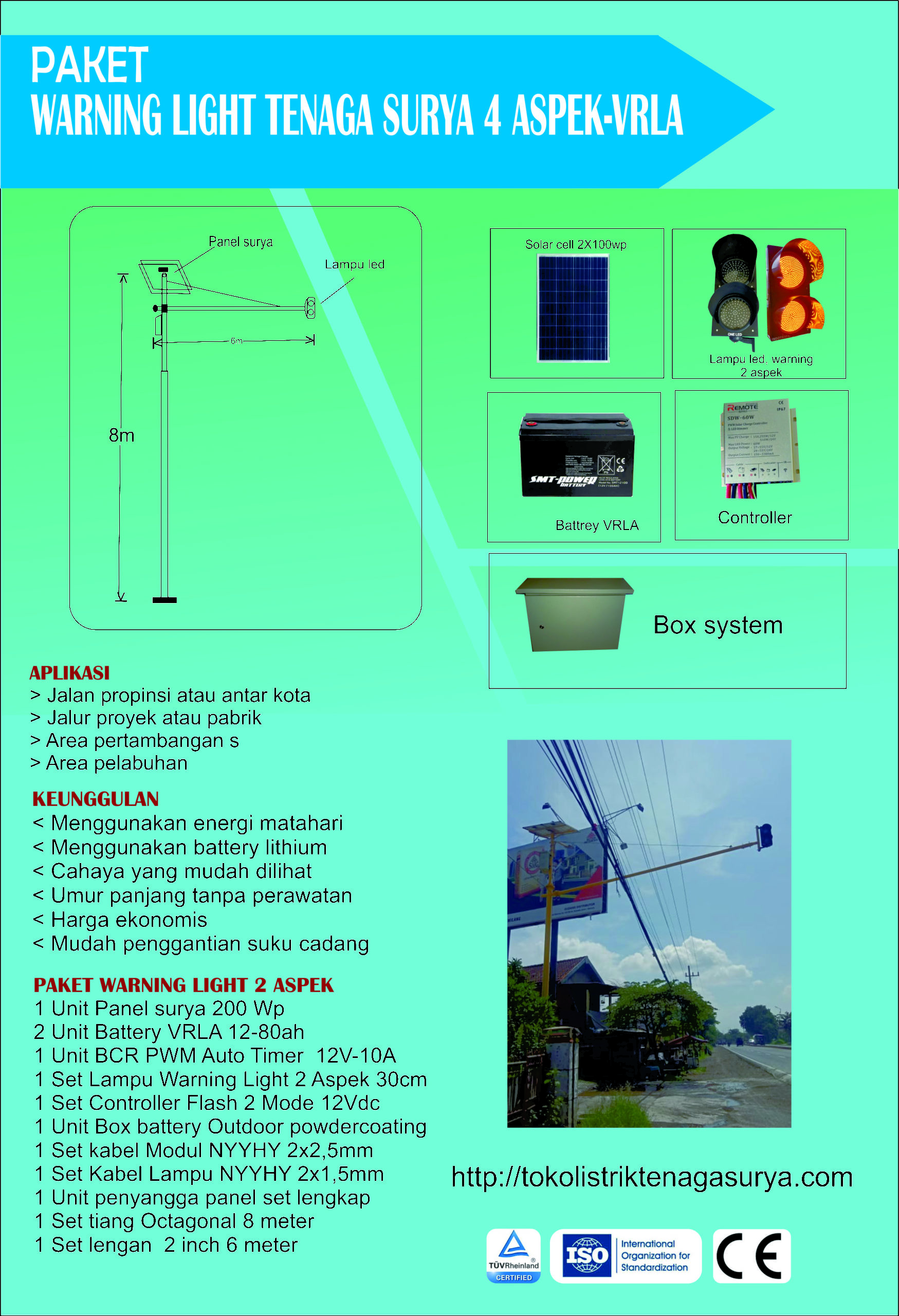 PAKET LAMPU WARNING LIGHT TENAGA SURYA 2 ASPEK | VRLA